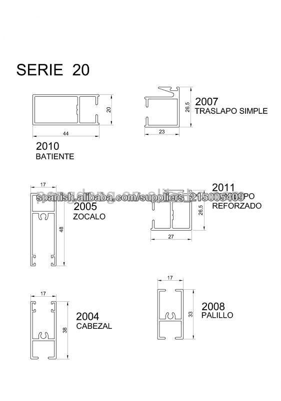 Linea 20 anodizado industrial perfiles de aluminio for Perfiles de aluminio para ventanas precios