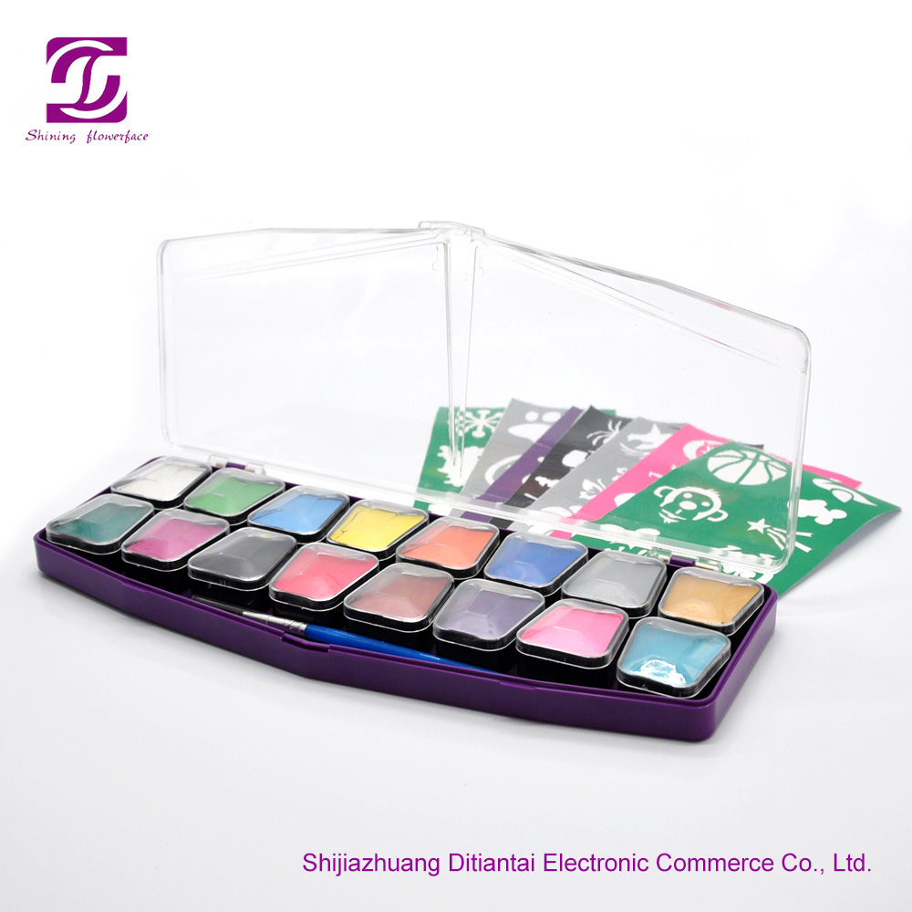 Non toxic private label 24 colors face painting kit with stencil glitter