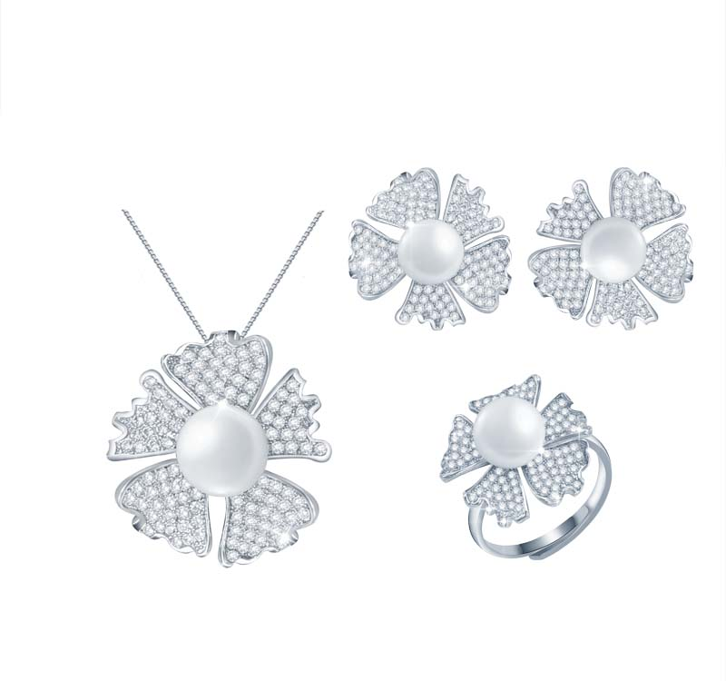 Wholesale white gold 925 Sterling Silver Flowerd design Pearl Jewelry Set