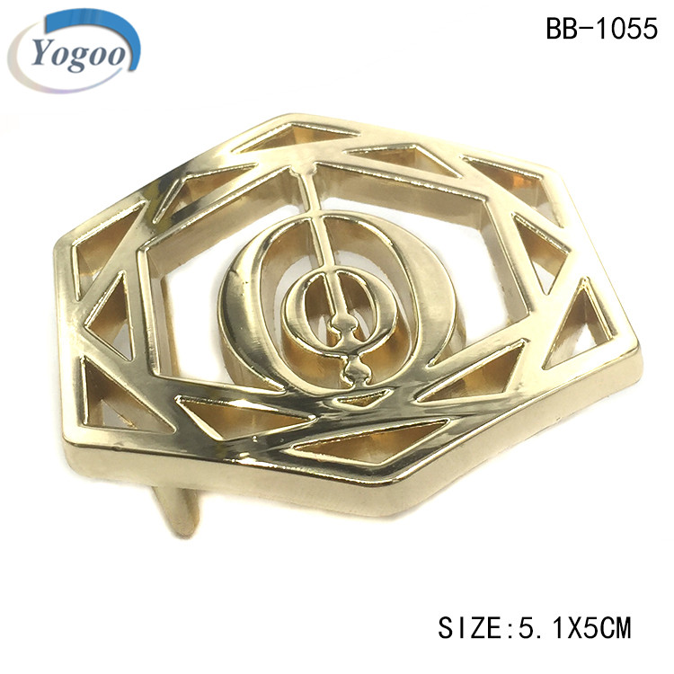 High Quality Hollow Custom Logo Light Gold Alloy Western Metal Belt Buckles