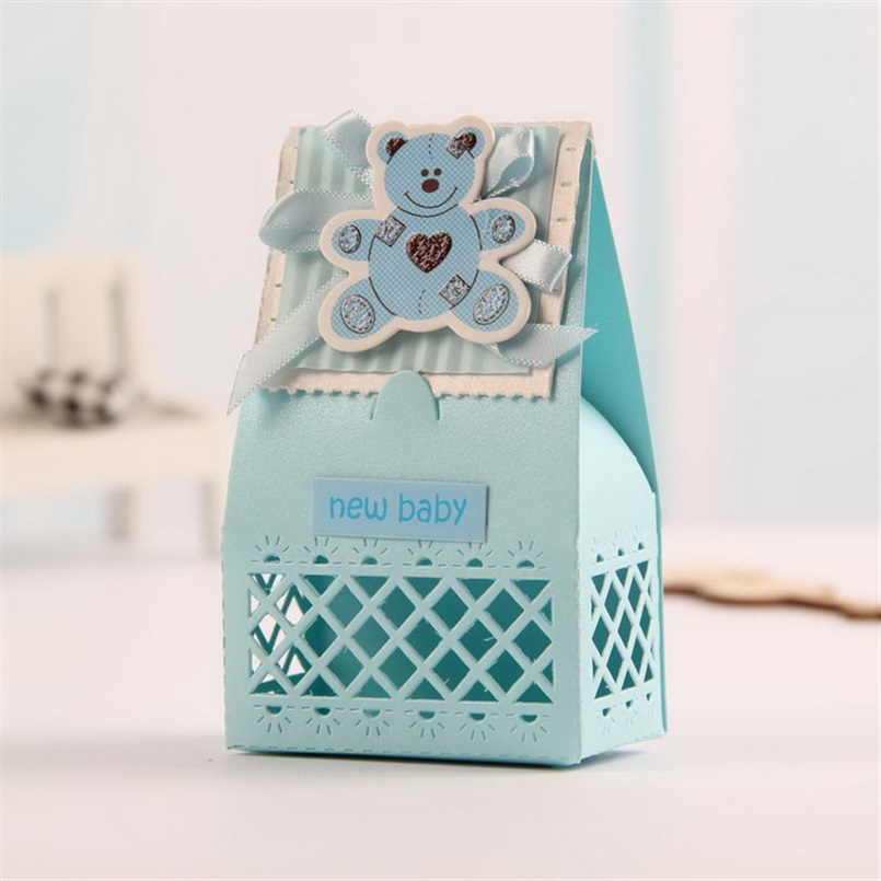 Baby Showers Gifts For Guests: Pink And Blue Cute Baby Favors Boxes Baptism Bombonieres