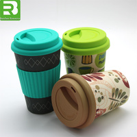 12oz biodegradable custom printed reusable melamine Bamboo Fiber Coffee Cup with lids
