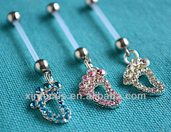 Crystal Baby Feet Ptfe Pregnancy Belly Navel Bar Maternity Piercing Flexible Buy Baby Feet Pregnancy Belly Ring Pregnancy Belly Ring Pregnancy