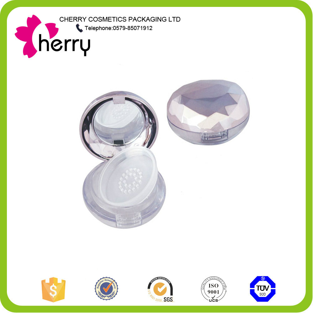 Shiny diamond shape empty loose powder compact case,loose powder container for wholesale