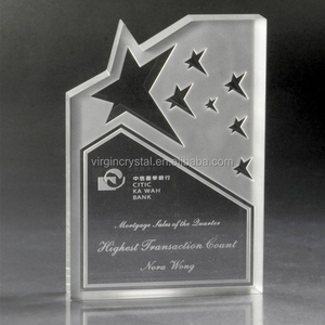 Wholesale engraved blank star award plaque crystal with custom brand name