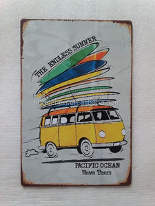 Pacific Ocean Wave Team Bus VW Vintage Tin Sign Retro Metal Plate Art Poster Bar pub home Wall Decor
