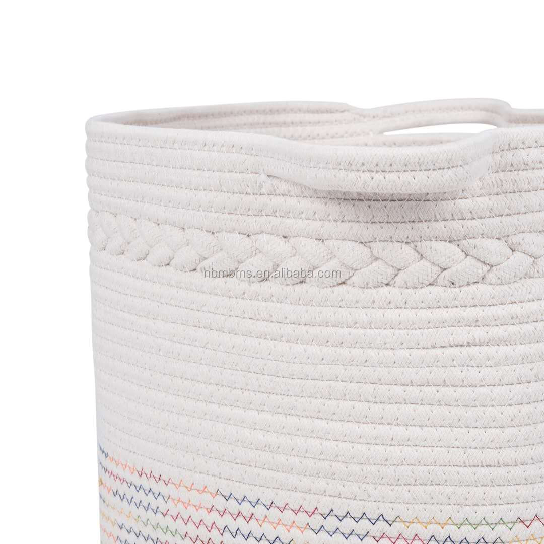 QJMAX Hot Sale Colorful Stitching Woven Rope Blanket Basket Custom Cotton Rope Storage Baskets