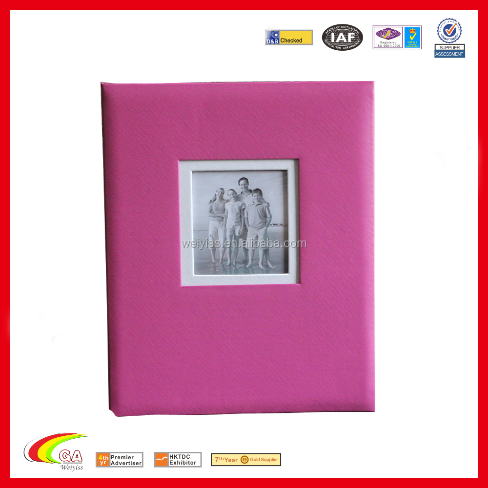 2018 hot selling leather pink hardcover adhesive graduation photo album embossed logo