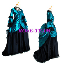 Rose Team-Free Shipping Custom-made Elegant Medieval Victorian Costume Blue Gothic Punk Costume