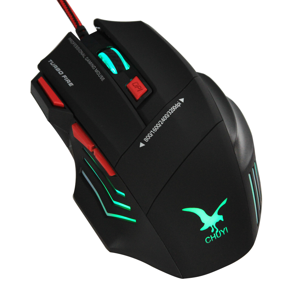 High quality CHUYI turbo fire wired gaming mouse black 4 adjustable DPI game mouse