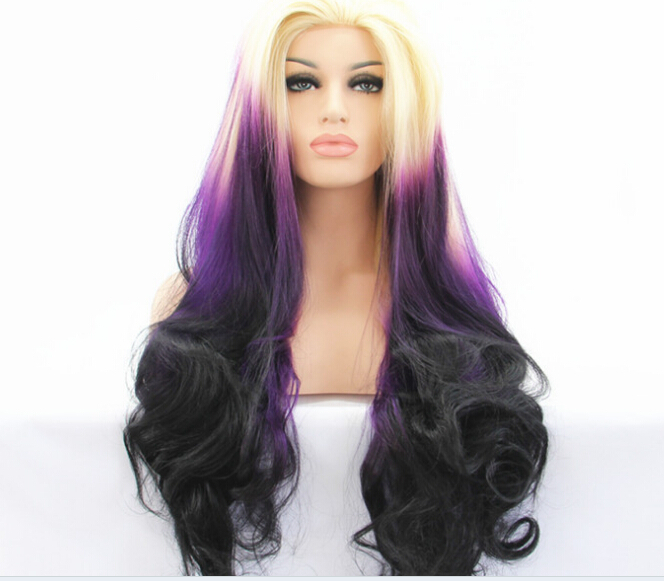 New Top Quality Cheap Heat Resistant Fiber Ombre Three Tone Blonde to Purple to Black Long Wavy Synthetic lace front wig