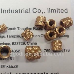 small brass knurled blind threaded plastic insert