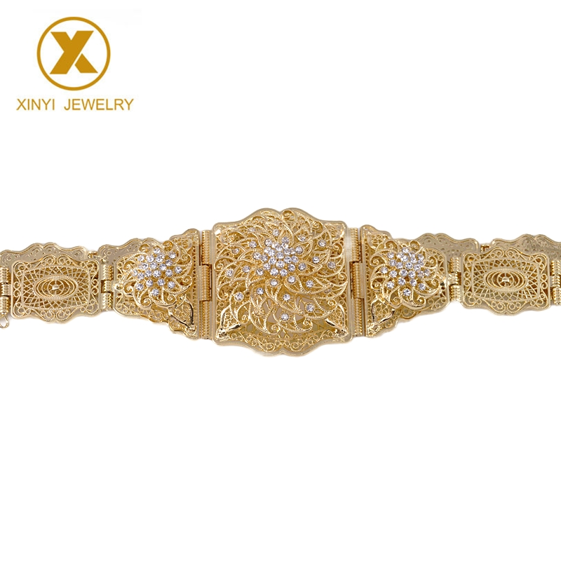 Traditional Moroccan chic Caftan belts offer women luxury gold plated Bridal Waist belts with cutout metal