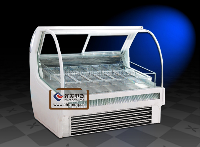 ROP Italian Style Transparent Ice Cream Display Cabinet Refrigeration Showcase for ice cream, popsicle, etc