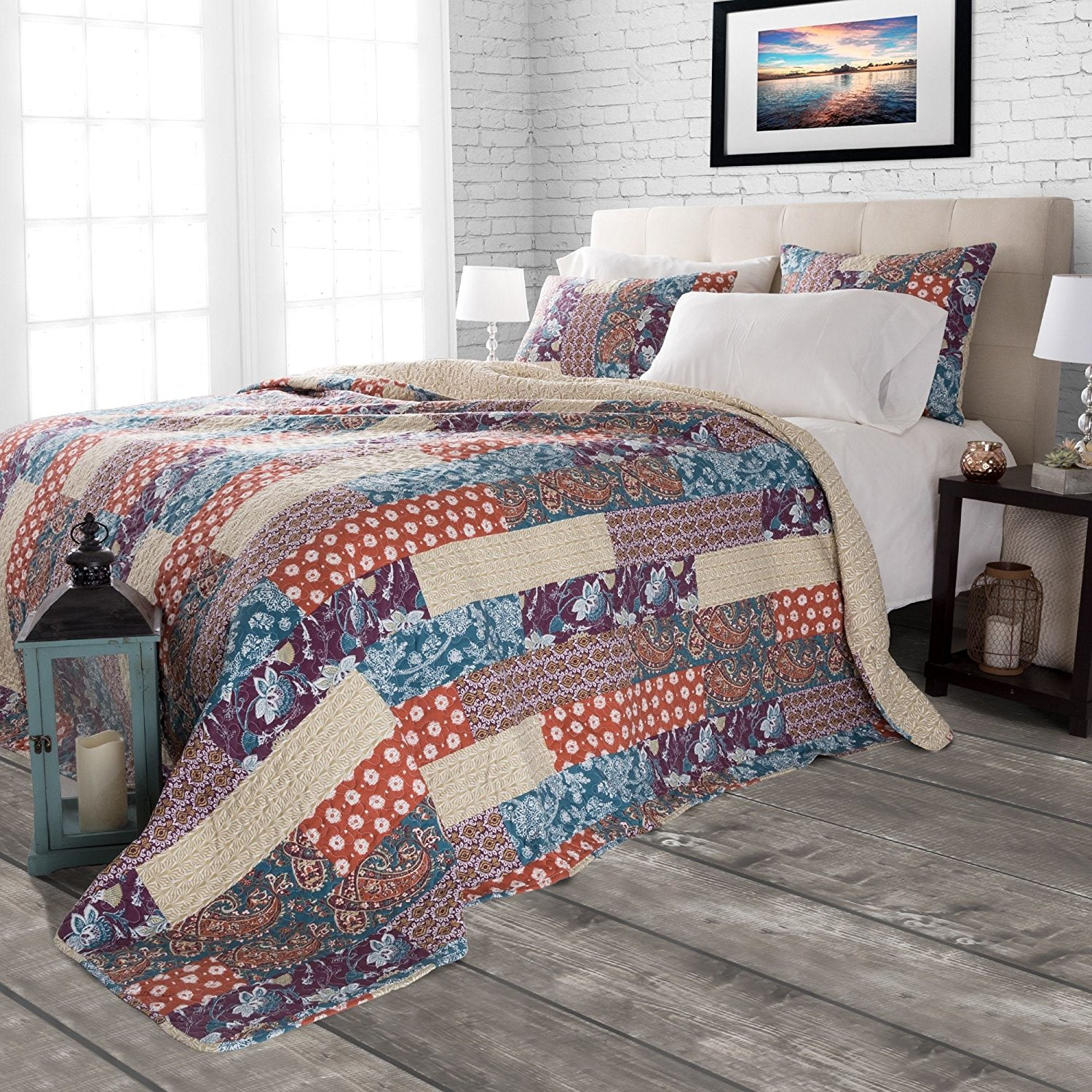 3 Piece Red Plaid Full Queen Quilt Set, Rustic Cabin Lodge Theme Bedding, Patchwork Checkered Lumberjack Stripe Rugby Stripes Damask Madras Tartan Floral Flowers Reversible Diamond, Cotton Polyester
