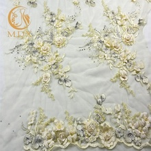 Africa lace textile hand embroidery bridal beads and 3d flowers fabric