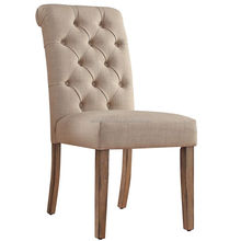 High Rolled Back Upholstered Tufted Dining Chairs