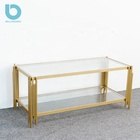 Luxury Gold Finish Metal Coffee Table Decor with Glass Top, Vintage Coffee Table For Living Room