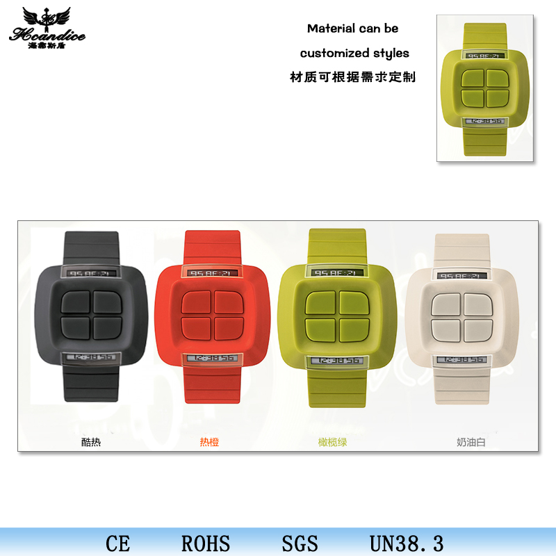 Square design keys digital finger ring silicon wrist sport watch for men women