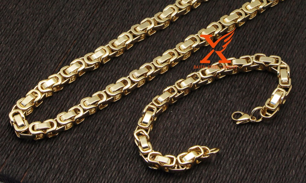 "24""MEN Stainless Steel 8mm Gold Plated Byzantine Box Link Chain Necklace Bracelet Set"