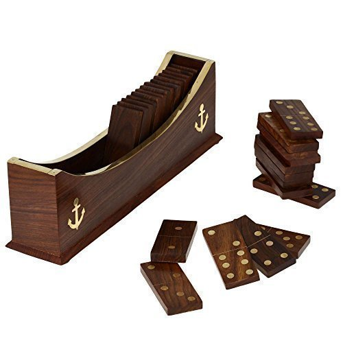 """Handmade Wooden Domino Tile Game in Boat Tray Storage - Complete Game Set - 8"""" x 2.5"""" x 2.5"""""""