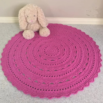 120cm Hand Made Crochet Round Rug