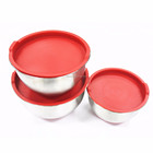 Wholesale stainless steel red bowl salad