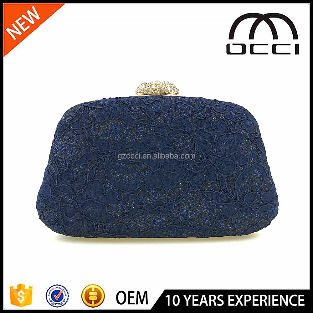 Ladies navy blue lace metal frame clutch box evening bag OC3115