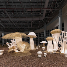 OEM Illuminated Paper Mushroom sculpture for shopping mall decoration