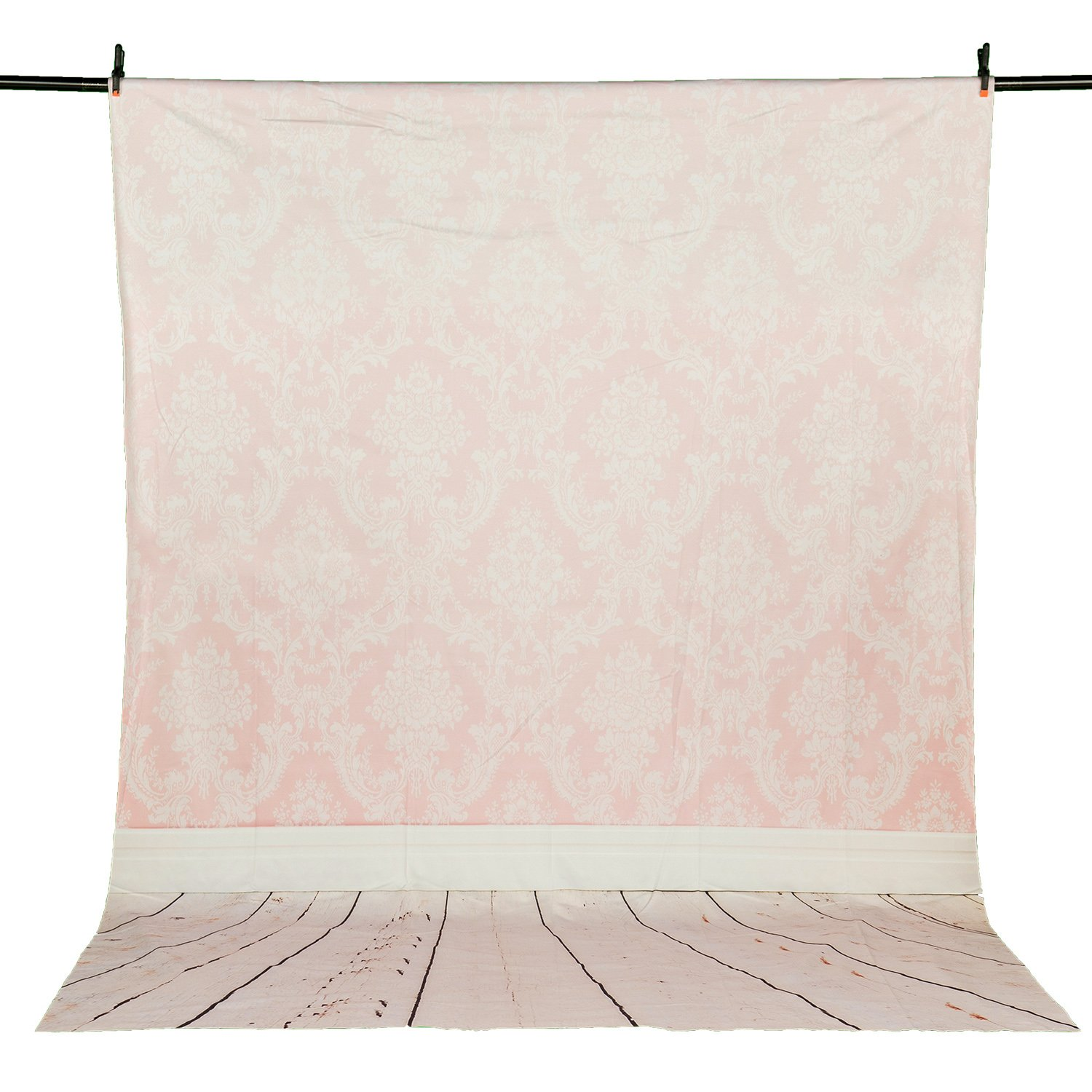 Allenjoy 5x7FT Polyester Damask Pink Photography Backdrop Wood Floor Brick Wall Background for Studio Photo Shooting Photocall