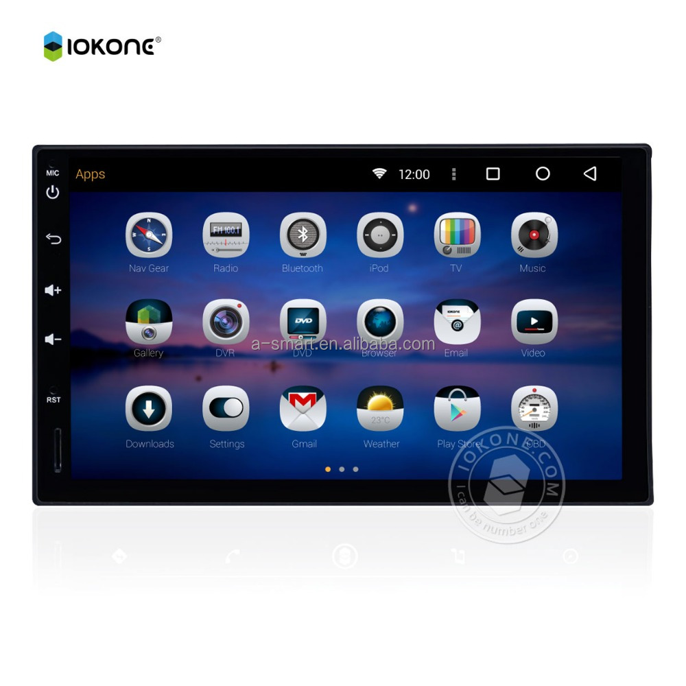 IOKONE China Factory Android 5.1 Car Rear View Camera GPS Radio DVD Full Touch Screen 7 Inch Navigation