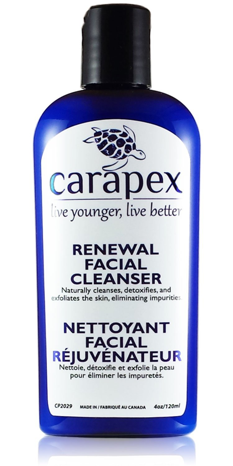 Carapex Renewal Exfoliating Facial Cleanser, Contains Crystal Exfoliant, Good for Acne Scars, Wrinkles, Blackheads, Uneven Skin Tone, with Shea Butter, Aloe Vera, Chamomile, Japanese Green Tea 4oz