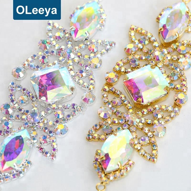 2018 New Arrival flatback crystal appliques 15*5cm crystal sew on rhinestone appliques for readymade garment фото