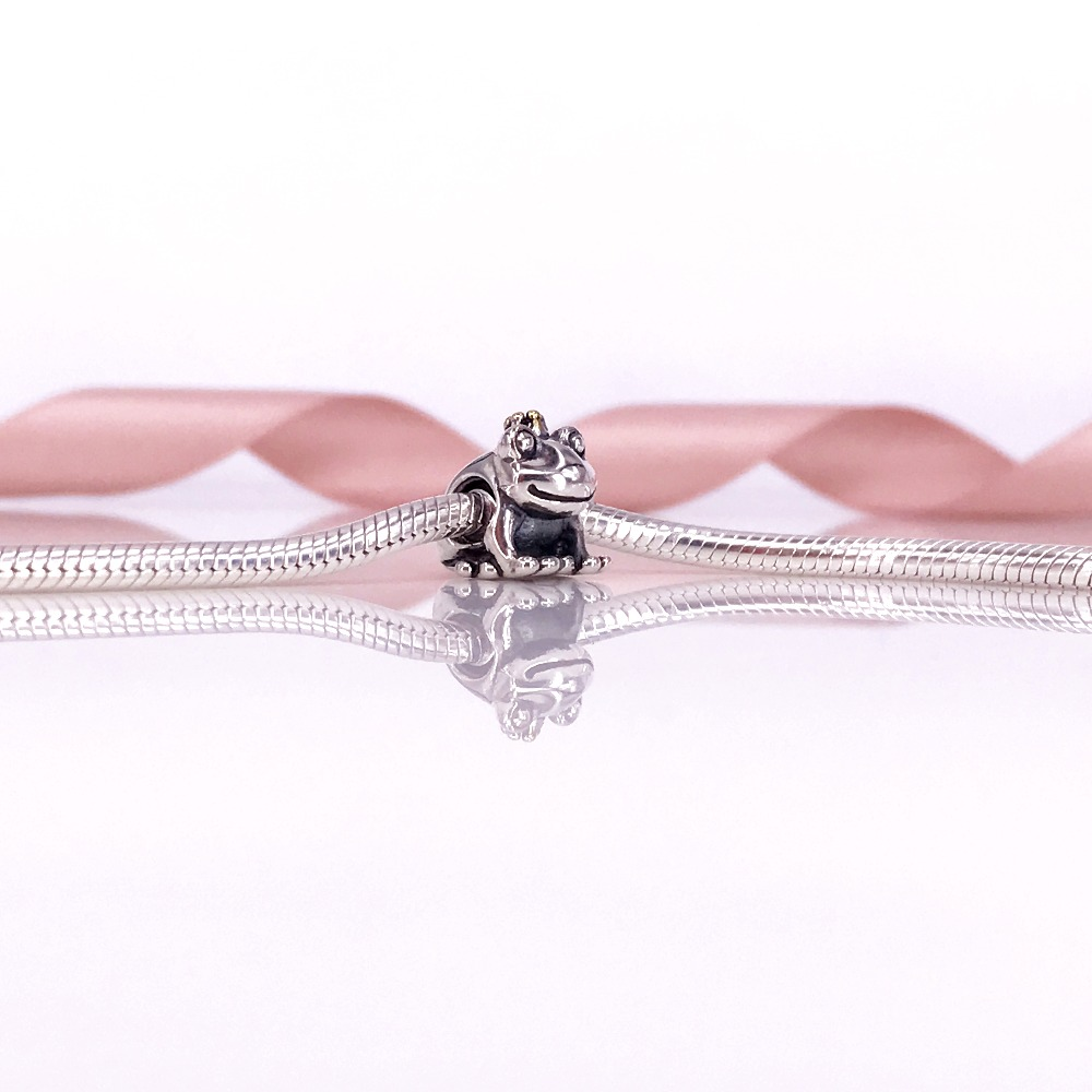 Silver And 14K Real Gold Frog Prince Crystal Beads For Women Bracelets Necklaces Bangles Silver Jewelry Gift