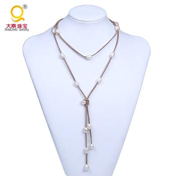 31c75da0bae11 Cadeia de moda pérola colar linha multi-cores camurça natural pérola colares  ...