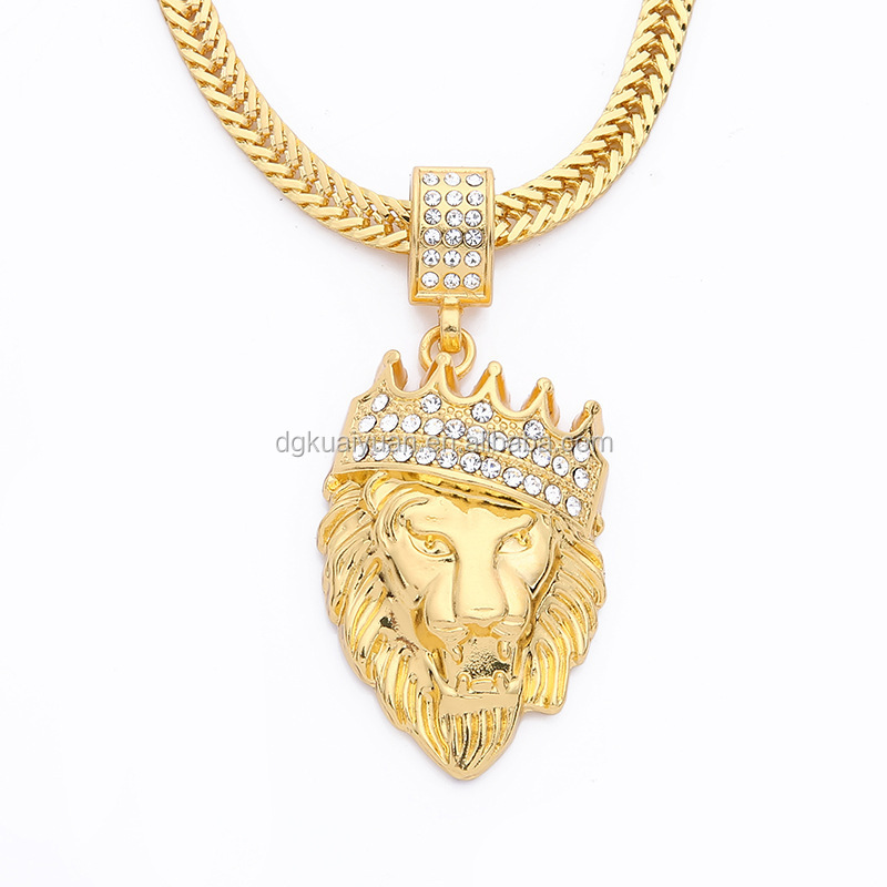Hip-hop style zircon crystal paved crown lion head men's saudi gold necklace