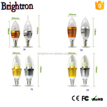 High Quality 120 degree White Housing Plastic 3w Led Candle Bulb E14
