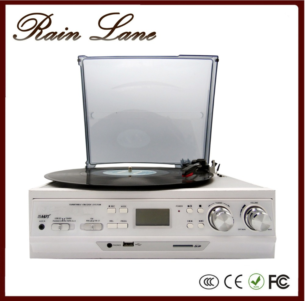 Rain Lane 3 Speed lp turntables for sale with USB burner radio tape