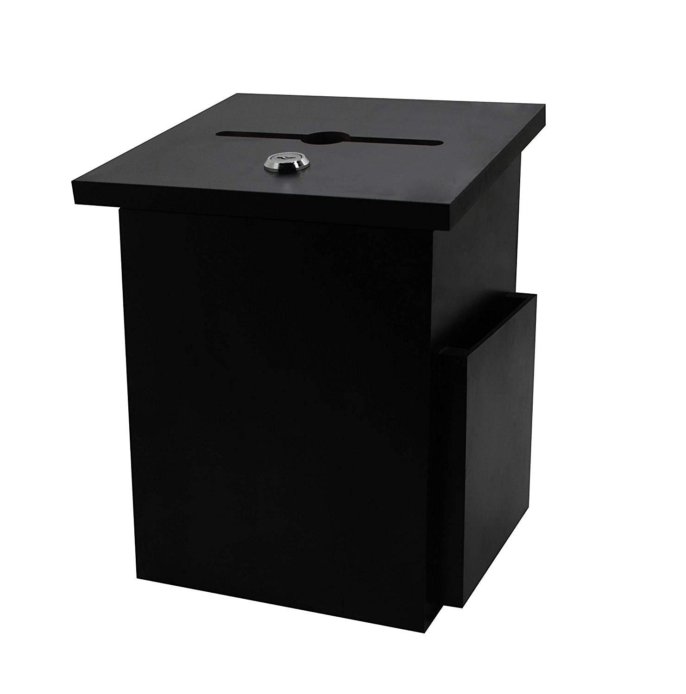 "FixtureDisplays Set of 2 Black Donation Box Suggestion Box Charity Box Ballot Box Fundraising Box Collection Box 6-3/4""W x 9-7/8""H x 6-1/2""D 15607"