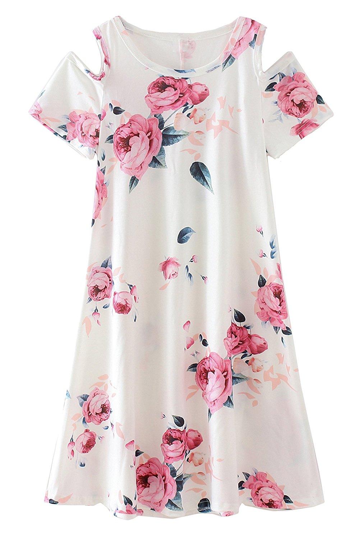 33aa488570 Get Quotations · COONITA Girls Kids Floral Print A-line Short Sleeve Knee  Length T-Shirt Dresses
