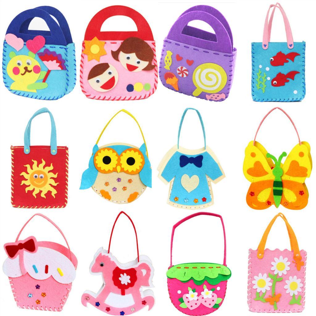 Wholesale Non Woven Cloth Cartoon Animal Flower Handmade Kids Children Diy Applique Bag Crafts Art Craft Gift Pink Blue Free Shipping