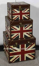 New Cheap Union Jack Furniture Vintage Wood Leather Storage Trunk