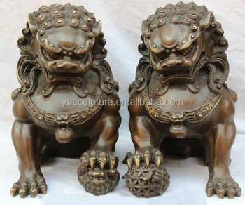 Black Copper Dog Statue Japanese