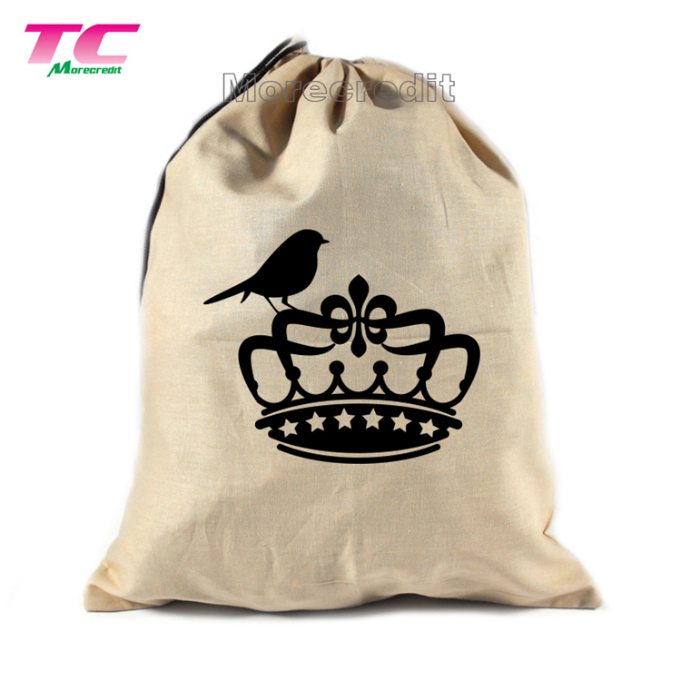 Shoe Storage Bag 100% Cotton with Drawstring for Men and Women in Natural