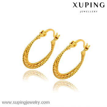 Xuping Imitation Jewellery New Design 24 Carat Br Gold Plating Hoop Earrings For Women