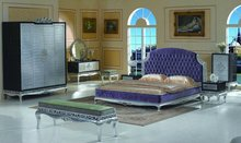 Modern classic furniture - silver foil leaf gilding hand carved bedroom furniture