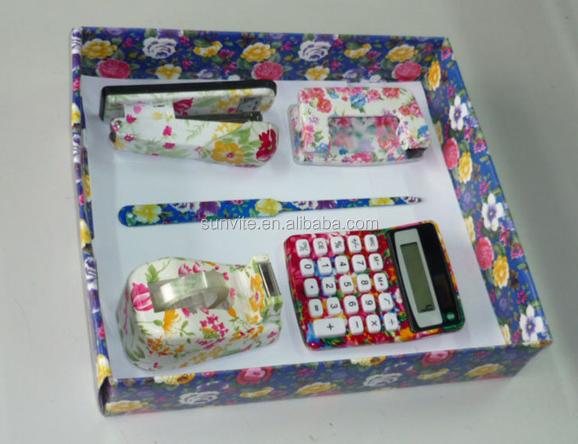 School Supplies New Design Floral Printed 4Pieces Gift School Stationery Sets