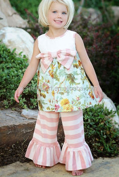 4ac8b291f 2017 hot selling baby frock designs and pink stripe pants latest ...