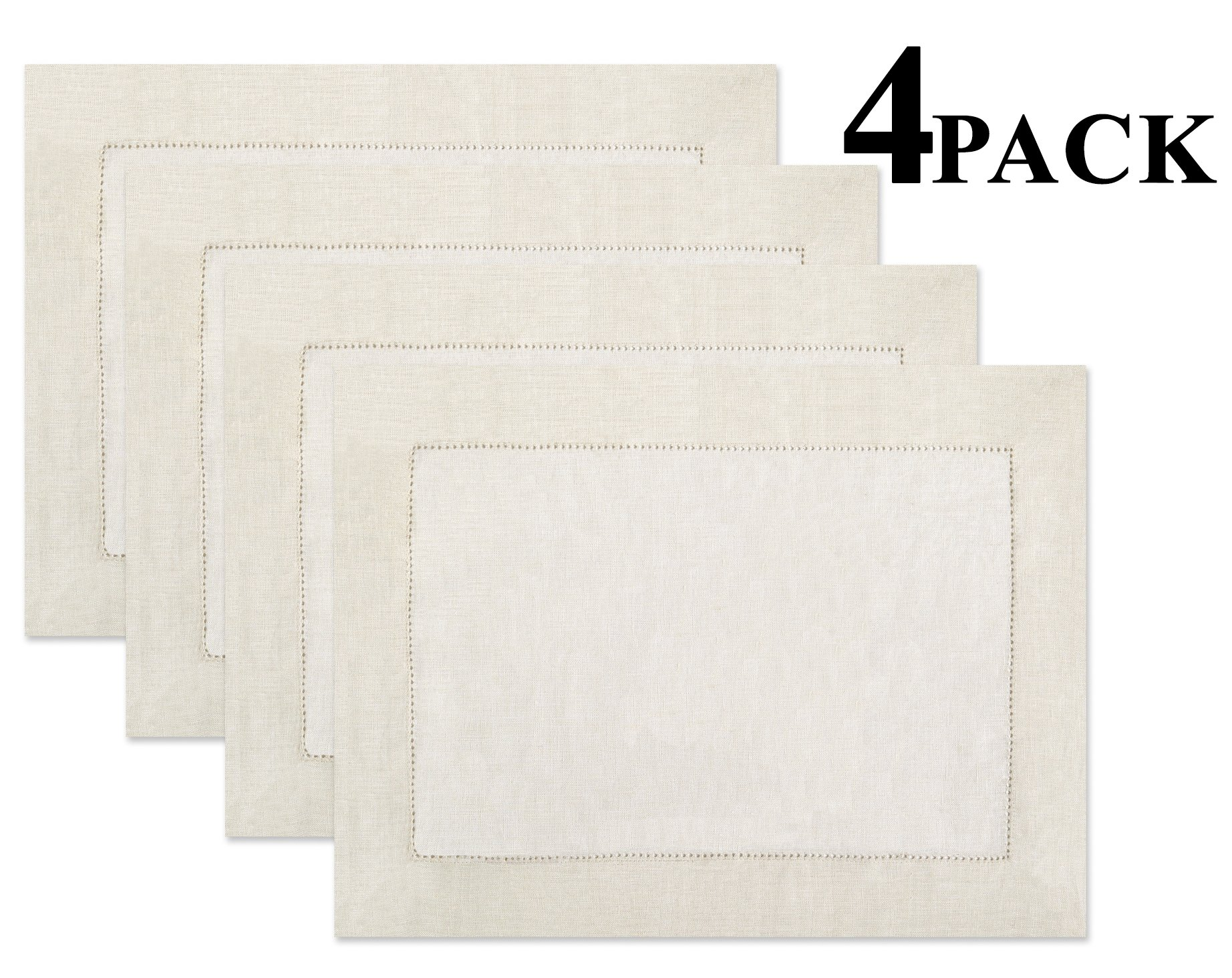 100% Linen Hemstitch Placemats - (Set of 4) Size 14x19 Ivory - Hand Crafted and Hand Stitched Placemats with Hemstitch detailing. The pure Linen fabric works well in both casual and formal settings