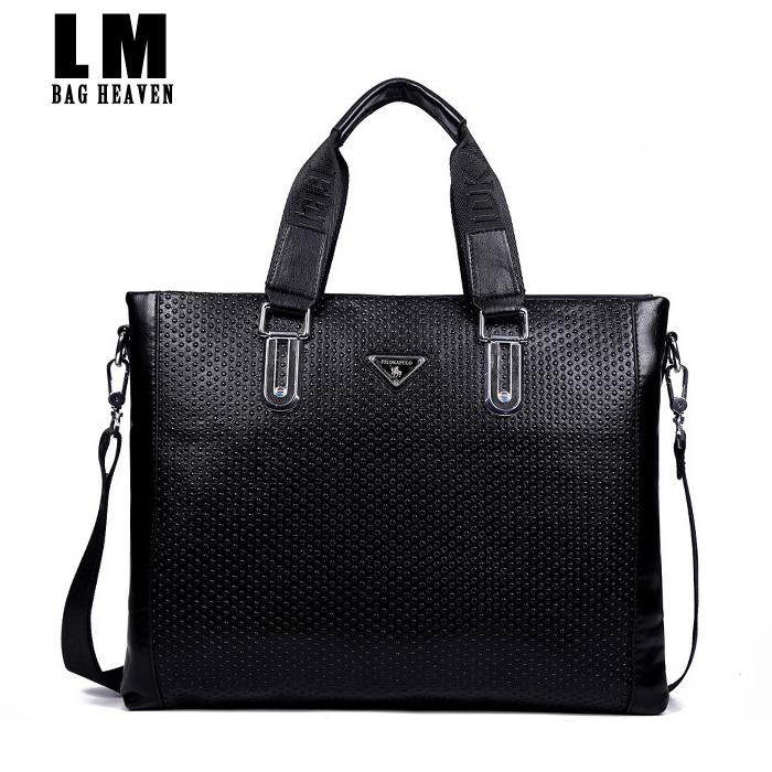High quality dress solid mens leather messenger bag black over shoulder mens leather messenger bag